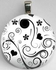 Handmade Interchangeable Magnetic Black and White Patterns #4 Pendant Necklace