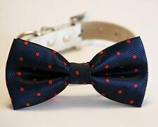 Navy and Red Dog Bow Tie, Polka dots bow, Pet accessory, Navy wedding,Dog Lovers