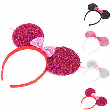 MICKEY MINNIE MOUSE EARS HEADBANDS GLITTER SEQUIN BOWS XMAS PARTY FAVORS