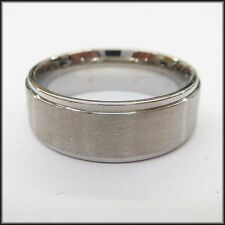 "Personalized Stainless Steel Stamped High Polished Edged Ring 8mm, ""Handmade"""