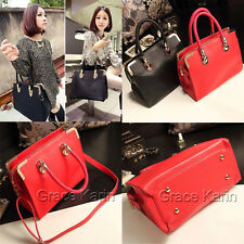 Women Handbag Black Red PU Cross Body Shoulder Tote Satchel Purse Messenger Bag