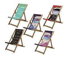 New Wooden Deck Chair Lazy Days Design Beach Holiday Travel Folding 3 Positions
