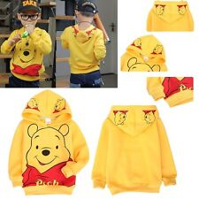Hot Sale Kids Long Yellow Casual Sleeve Coat Winnie the Pooh Hoodies Aged 2-8