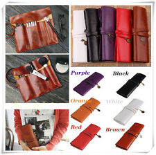 Sale Vintage Roll Leather Make Up Cosmetic Pen Pencil Case Pouch Purse Bag Box