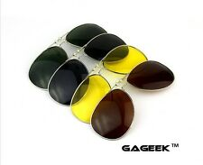 U.S Stock Polarized Lens Clip-on Flip-up Sunglasses Clips on ANY Pair of Glasses