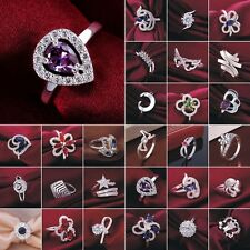 Women's Fashion Jewelry S925 Sterling Silver SP Ring US size 6 7 8 9 Engagement