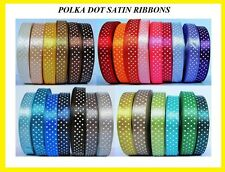 22mtrs   28 colors   Polka Dot Satin Ribbons Dotty 12mm, 25mm, 38mm FREE POSTAGE