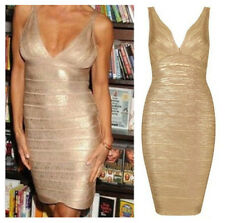 Womens Sleeveless Gold Fitted Stretch Bodycon Bandage Cocktail Party Dress
