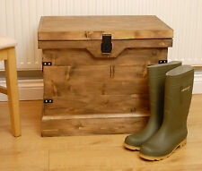 Vintage Style Rustic Wooden Chest/Trunk Wellington Boot/Shoe Storage Box & Seat