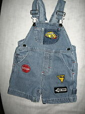 Blue/White Striped Shorts Overalls, Embroidered Car & Road Signs, Snap Crotch