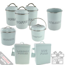 Kitchen Storage Tins Country Style Aqua Green Retro Cool Vintage Look Canisters
