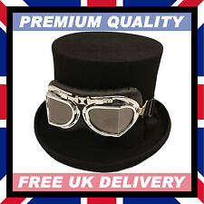 100% WOOL HAND MADE BLACK TOP HAT & GOGGLES Steampunk Felt Satin • Boxed #19-03