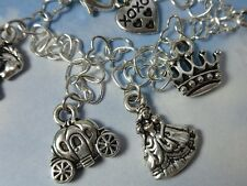 Princess Cinderella Charm Bracelet- Sterling silver heart chain, carriage crown