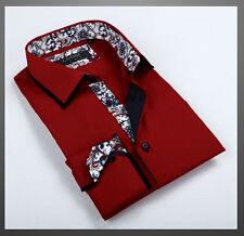 NWT Mens COOGI LUXE Button Dress Shirt Dark Red with Black Trim NICE!