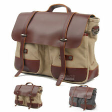 Men's Vintage Canvas Leather Briefcase Cross Body Laptop Shoulder Messenger Bag