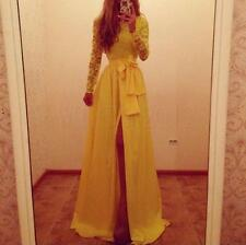 Long Chiffon Bridesmaid Formal Gown Party Cocktail Evening Prom Lace Split Dress