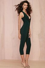 Nasty Gal S M L On the Hunt Plunging Jumpsuit Olive Jumper NWT Romper Tank