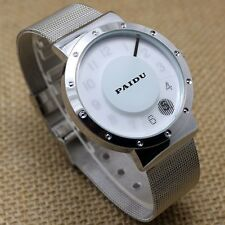 Simple Black/White Metal Iron Mesh Quartz Wrist Watch Mens Womens Girl Gifts