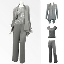 $708 Cardigan-like Jaket sequined Top wide leg Pants 3PC SET womens special deal