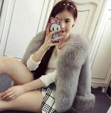 Hot Sale Womens Luxury Thick Faux Rabbit Fur Trench Jacket Coat Outwear Parka