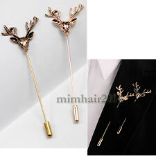 Men Vintage Gold Deer Head Horn Elk Antler Stag Lapel Stick Pin Tie Hat Brooch