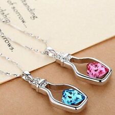 New Women's 9K White Gold Filled CZ & Heart Shape Crystal Necklace & Pendant