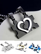 Stainless Steel Gift Men Women Black Couple Love Heart Puzzle Pendant Necklace