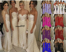 New Long Satin Evening Formal Party Ball Gown Prom Bridesmaid Wedding Dress 6-18