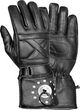 Men's Leather Motorcycle Gauntlet Glove w/ Studs & Concho & Wrist Strap SH231