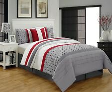 5 Piece Modern Geometric Polka Dot Striped Grey Red Comforter Set, Queen King