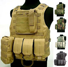 USMC Tactical Military Airsoft Molle Combat Assault Plate Carrier Vest