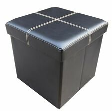 Faux Leather Single Seater Ottoman Storage Boxes- Home Storage Solution