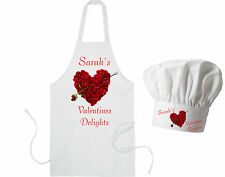 Personalised Rose Heart Adults Apron & Chef's Hat Valentines Delight GIFT Cook