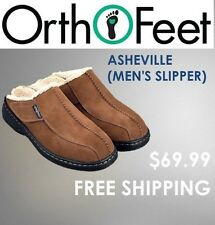 Asheville Orthofeet - Men's Brown Tan Comfort Slippers - DIABETIC Slippers S331