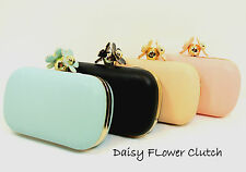 Spring Chic Daisy GOLD Flower Evening Clutch Handbag Pink, Mint, Black Nude