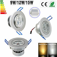 Dimmable Bombillas 9W 12W 15W LED Recessed Ceiling Down light Lámparas & Driver