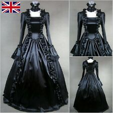 Black Vintage Lolita Victorian Satin Gothic Gown Fancy Dress Cosplay Costume UK