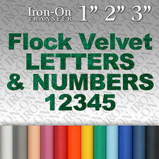 Flock Velvet Letters & Numbers Iron on Hot Fix FABRIC T-SHIRT TRANSFER Suede