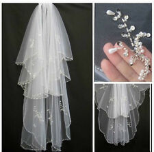 2015 New Beads Pearls White/Ivory 2T Wedding Veil Bridal Veil with Comb