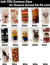 For Huawei Ascend G6 P6 Mini Soft TPU Tower Girl Minions Love Flower Case Cover