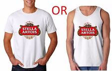 Stella Artois Beer Logo White T-Shirt or Tank Top Drinking Party College Tee