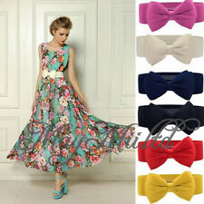 Women's Girls Graceful Bowknot Elastic Lovely Belt With Buckle Waistband Sales