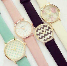 Fashion Trendy floral printed Geneva styles unisex leather watches