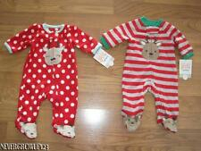 CARTERS INFANT~BABY~CHRISTMAS REINDEER SOFT FLEECE SLEEPER~NEWBORN~GIRL~BOY~NWT