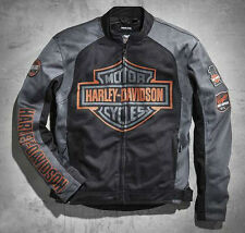 Men's Harley Davidson Black & Grey Bar & Shield Logo Mesh Jacket