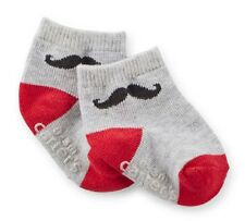 Infant Boy Valentine's Day Mustache Socks Red and Gray See Sizes NWT