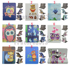 "360 Rotating Cute OWL Printed Cartoon Leather Case Cover For 7"" 8"" 10"" Tablet PC"