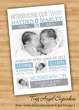 Personalised Photo Baby Boy Twin Birth Announcement/Thank You Cards