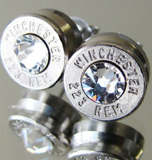 223 Winchester Bullet Earrings CHOICE Swarovski Crystal Silver Nickel Gun AR-15
