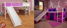White Loft Bunk Bed Slide Twin Tent Kids Girls Fort Metal Fantasy Loftbed Pink